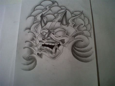 japanese mask tattoo designs hannyah mask tattoo design by
