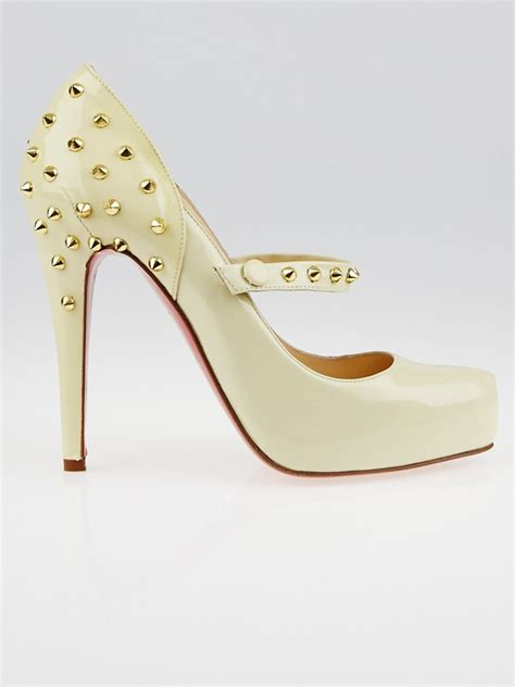 Shoes Of The Week Christian Louboutins Mad Janes by Christian Louboutin Beige Patent Leather Mad Pumps
