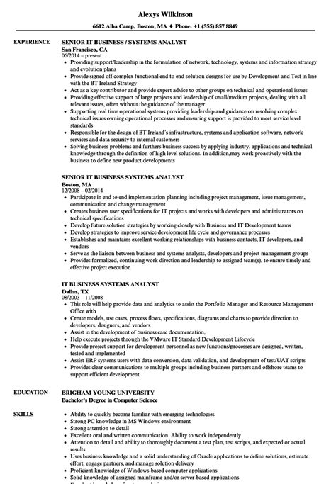 Business Systems Analyst Resume by It Business Systems Analyst Resume Sles Velvet