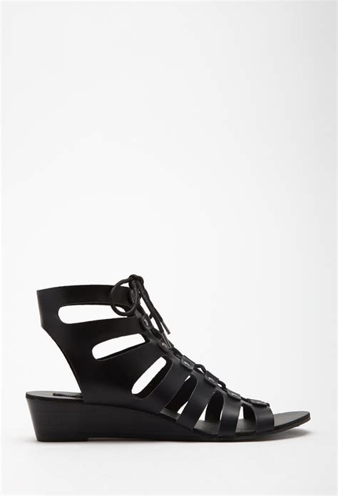 gladiator sandals forever 21 forever 21 lace up wedge gladiator sandals in black lyst