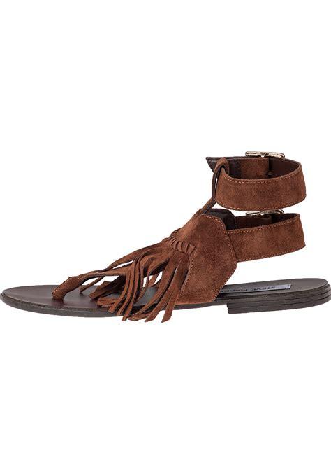 fringe suede sandals lyst steve madden lexee fringe sandal chestnut