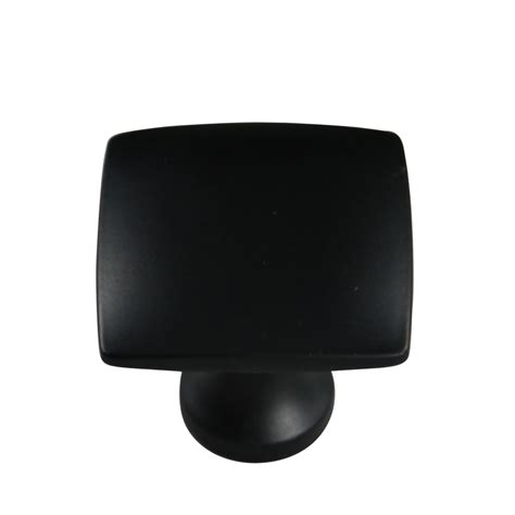 Shop Allen Roth 1 3 8 In Matte Black Square Cabinet Knob Black Kitchen Cabinet Hardware
