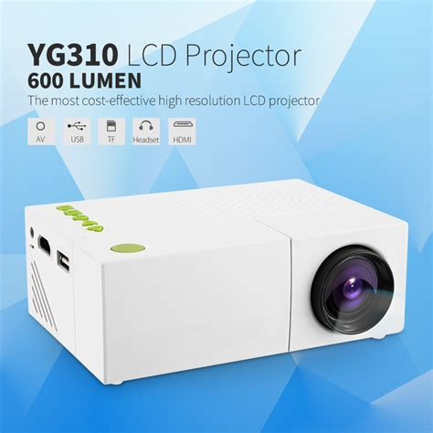 Lu Led Proyektor Mini proyektor mini lcd 1080p 600 lumens yg310 white