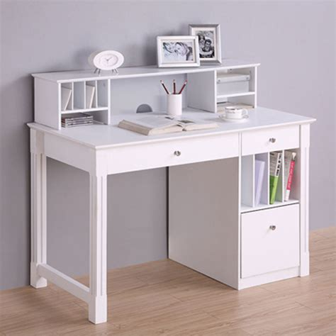 Office Desk Storage Walker Edison Deluxe Home Office Writing Desk With Storage And Hutch White Dw48d30 Dhwh