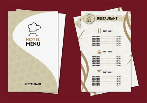 Menu Card Design Templates by Hotel Menu Professional Template Vector Free