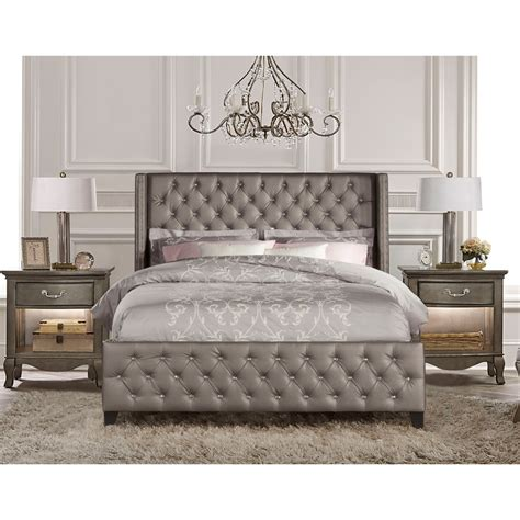 upholstered headboard bedroom set upholstered beds queen tan bed with button tufting by