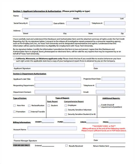 Background Check Disclosure Form Sle Check Authorization Form 14 Free Documents In