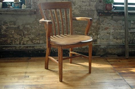 Wooden Library Chair by Vintage Wooden Oak Library Chair Bankers Chair Courthouse