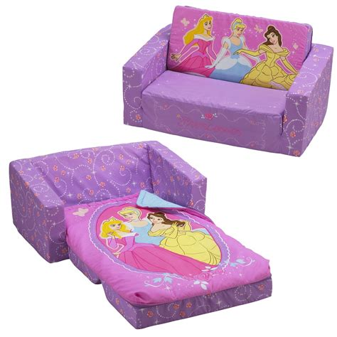 kids flip out sofa bed with sleeping bag disney princess flip out sofa with slumber bag home