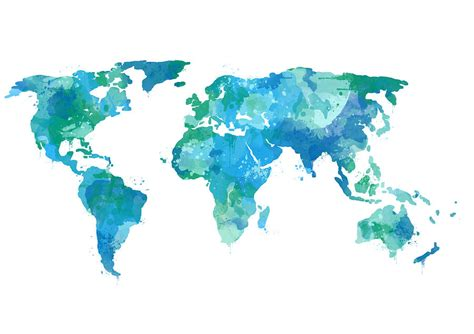 water color map watercolor world map teal digital by eshleman