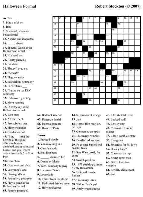 printable easy crossword puzzles 4 best images of halloween easy printable crossword