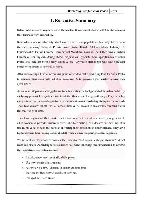 sle business plan hair salon marketing plan for salon praba