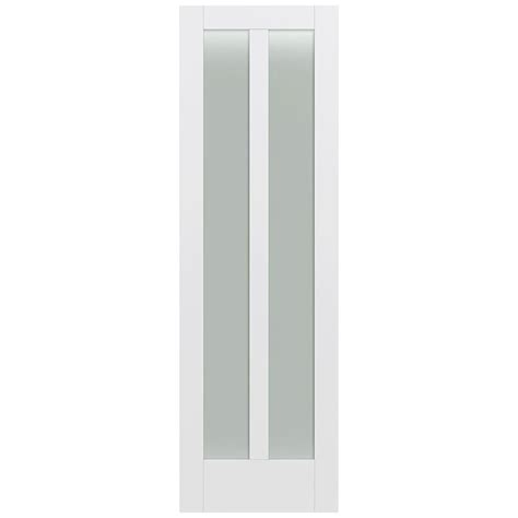 White Glass Panel Interior Doors Jeld Wen 32 In X 96 In Moda Primed White 2 Lite Solid Wood Interior Door Slab With