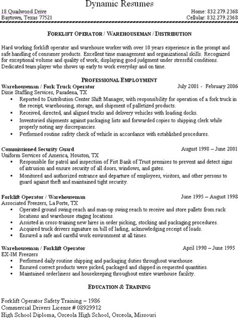 free download forklift driver warehouse worker resume getka