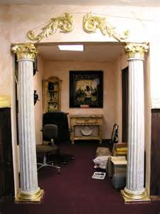Column Decorations Home fake supportive interior columns with gold leaf