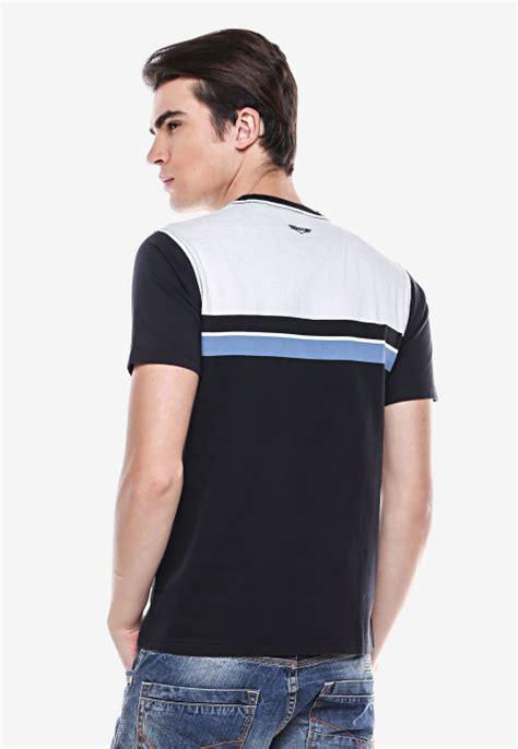 Dsvn Generation Kaos Pria Hitam slim fit kaos casual hitam putih garis biru