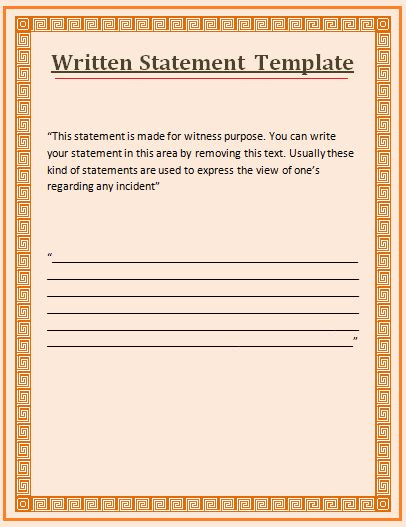 witness statement template free free word s templates