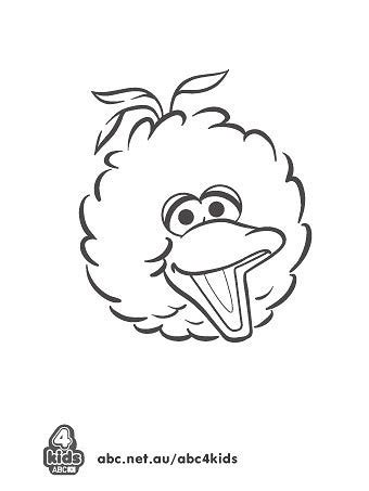 Sesame Street - Print and Colour - ABC KIDS Elmo Face Coloring Page