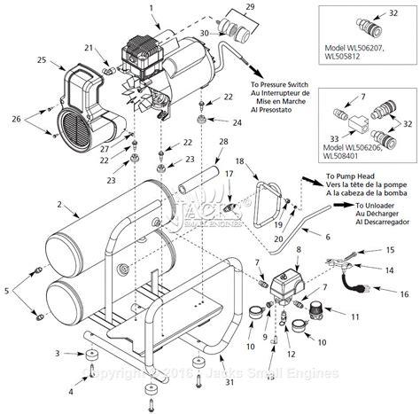 air compressor parts diagram cbell hausfeld wl504111 parts diagram for air