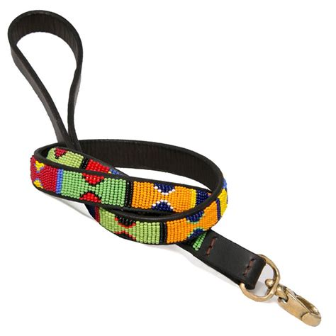 Handmade Leashes - collection primary colors beaded leash