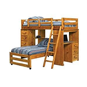 bunk bed amazon twin over twin l shaped bunk bed with desk end amazon co