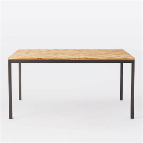 box frame chevron dining table west elm