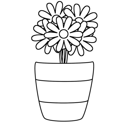 clipart of flowers coloring pages vase clipart coloring page pencil and in color vase