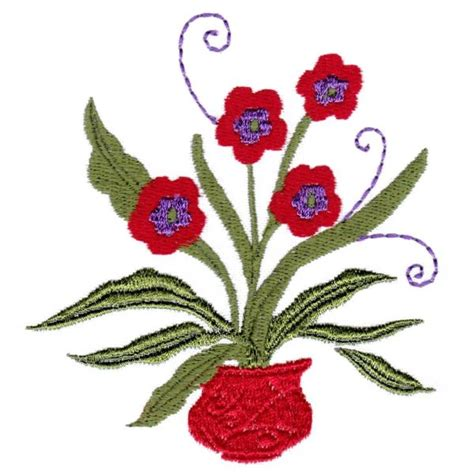 Oregon Patchwork Machine Embroidery Designs - flower pots oregonpatchworks