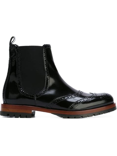 dolce and gabbana boots dolce gabbana brogue detailing chelsea boots in black lyst