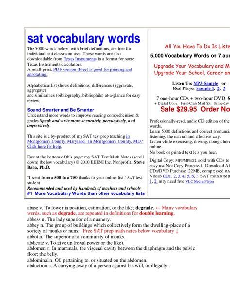 vocabulary words sat vocabulary words