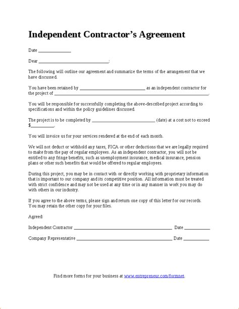 Simple Independent Contractor Agreement Template 7 Simple Independent Contractor Agreement Independent Contractor Form Template