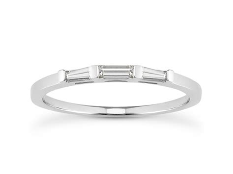 Wedding Bands With Baguettes by Thin Tapered Baguette Wedding Band In 14k White
