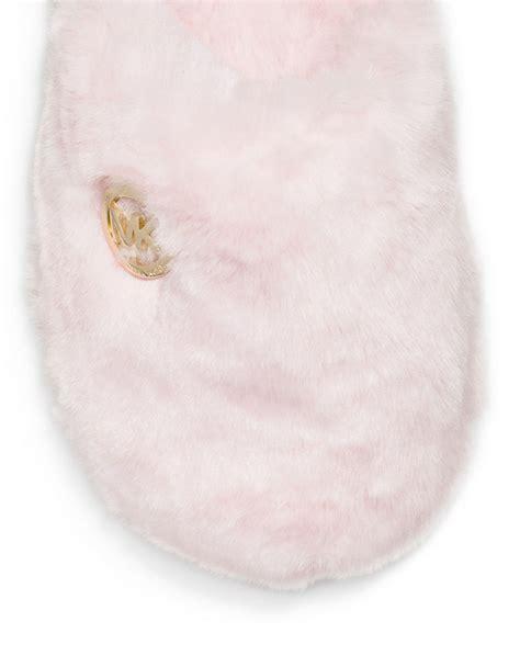 michael kors faux fur slippers michael michael kors jet ski mk faux fur slippers in pink