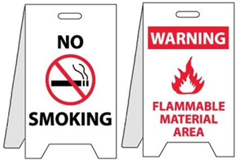 no smoking sign with stand no smoking warning flammable material area reversible