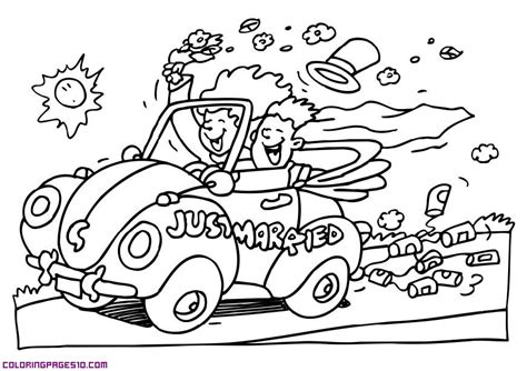 free just married coloring pages