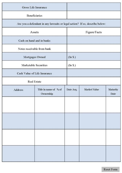 asset and liability statement template accounts payable