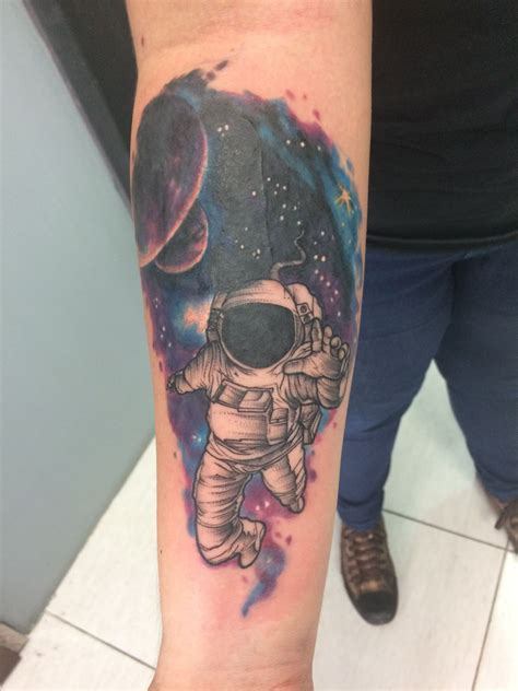 spaceman tattoo interstellar astronaut space watercolor