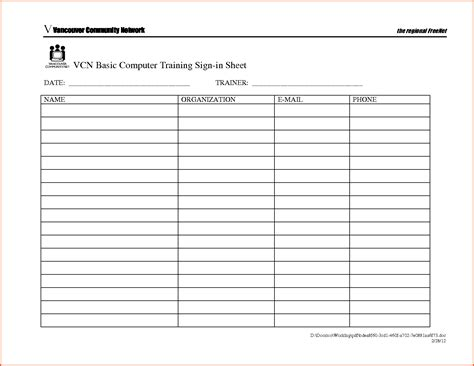 Sign In Sheet Template Docs by Sign In Sheet Doc Template
