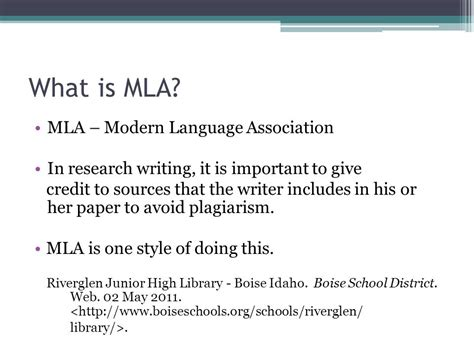 giving credit in a research paper introduction to mla format ppt