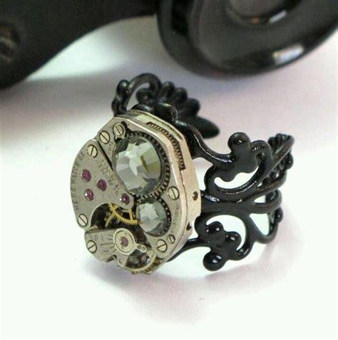 Black diamond swarovski ring etsy steampunk pinterest