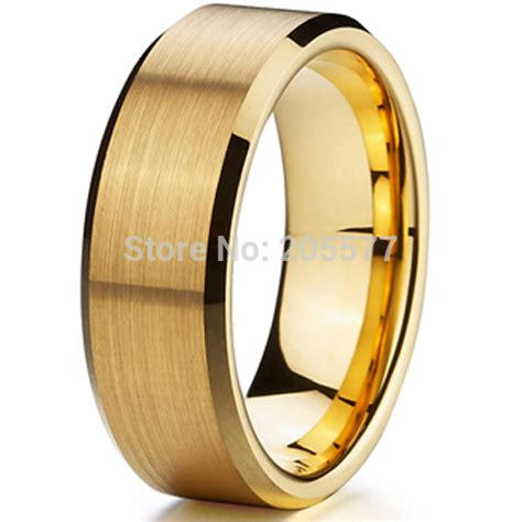 classic 8mm ring titanium wedding band gold ion