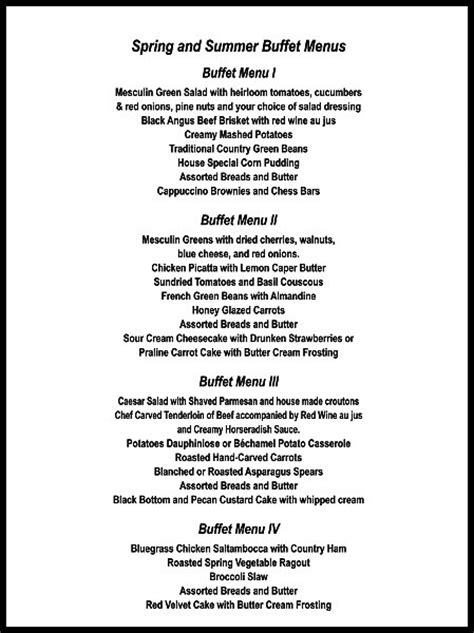 donna potter catering menus page