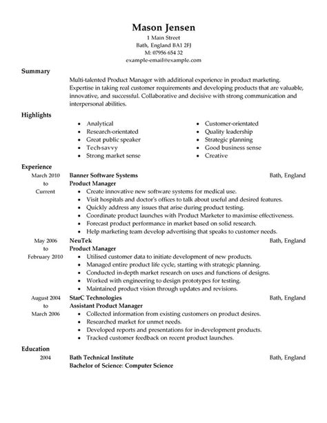 Resume Templates Product Manager Resume Format Resume Sles Product Manager