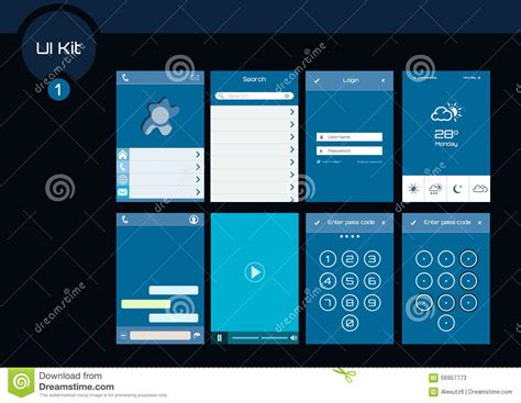 design elements for apps stock photos set of blue flat design ui elements for
