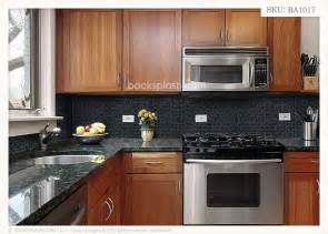 Kitchen Backsplash Ideas With Black Granite Countertops by Black Granite Glass Tile Mixed Backsplash