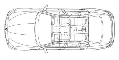car interior line drawing top view sketch coloring page
