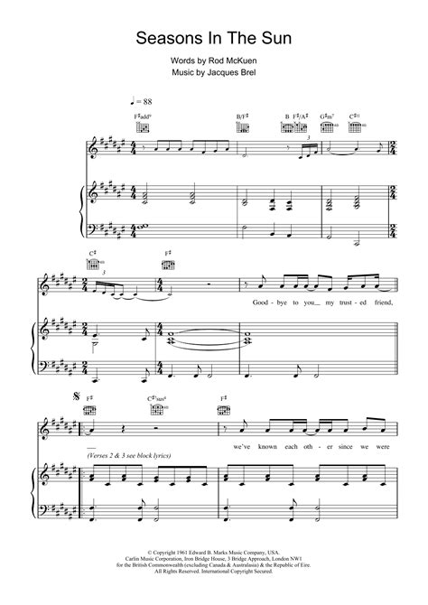 Seasons In The Sun sheet music for voice, piano or guitar