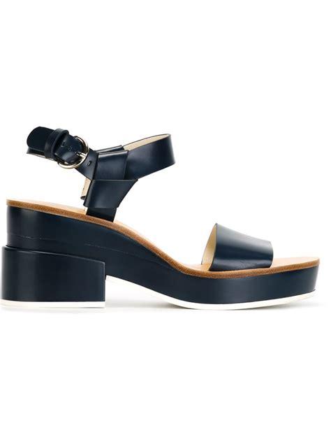 navy heeled sandals jil sander navy block heeled leather sandals in blue lyst