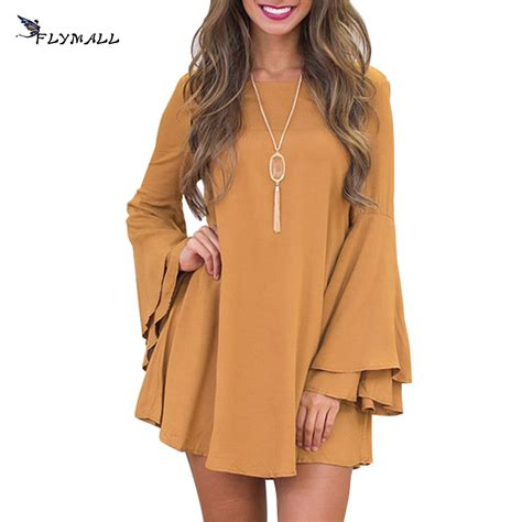 Sleeve A Line Mini Dress mini dress flare sleeve casual backless a line