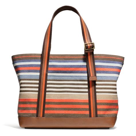 Tote Bag Canvas Murah 2 lyst coach bleecker tote in striped canvas for